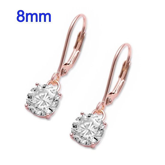 Rose Gold Plated Sterling Silver Lever back Earrings with 8mm Round CZ Drop Dangles