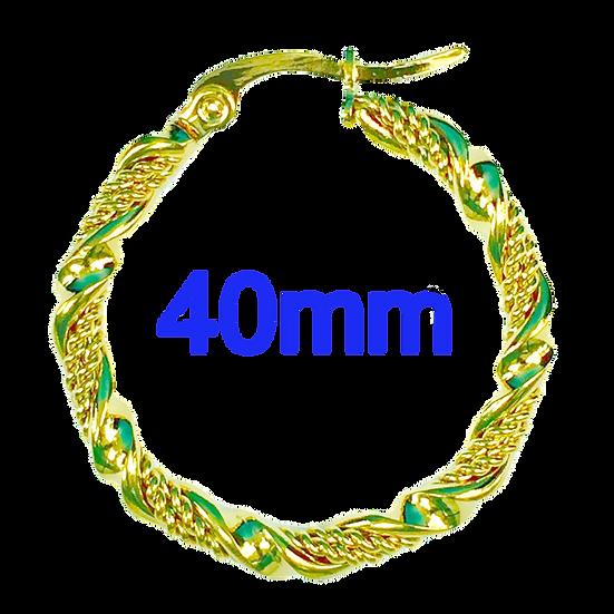 Stainless Steel 40mm Fancy Swirl Golden Hoop Earrings