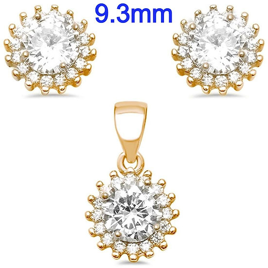 Sterling Silver Yellow Gold Plated Cubic Zirconia Halo Earring And Pendant Set