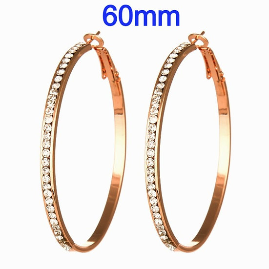 60mm Titanium Rose Gold color Hoop Earrings with micro pave rhinestone's
