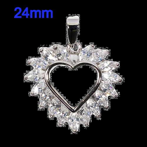 Sterling Silver CZ 24mm Heart Pendant