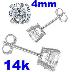 14K White Gold Stud Earrings   Aprx .50 Carat Total Weight, 4mm Round Simulated Diamonds Set in High Quality