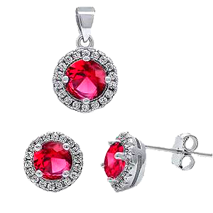 Sterling Silver Halo with Ruby Red & Clear Cz Pendant and Earring set