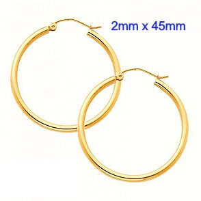 14K Yellow Gold 2mm x 45mm in Diameter Classic Snap Post Hoop Earrings