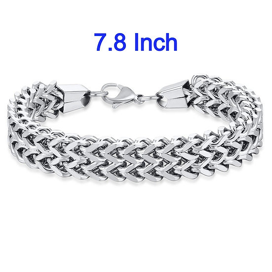 "Stainless Steel 7.8"" Wheat Chain Bracelet"