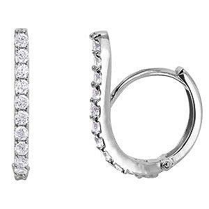 Sterling Silver Rhodium Plated Fancy Pave Swoop Huggie Hoop Earrings