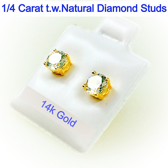 14K Yellow Gold Stud Earrings with 3mm Round Simulated Diamonds