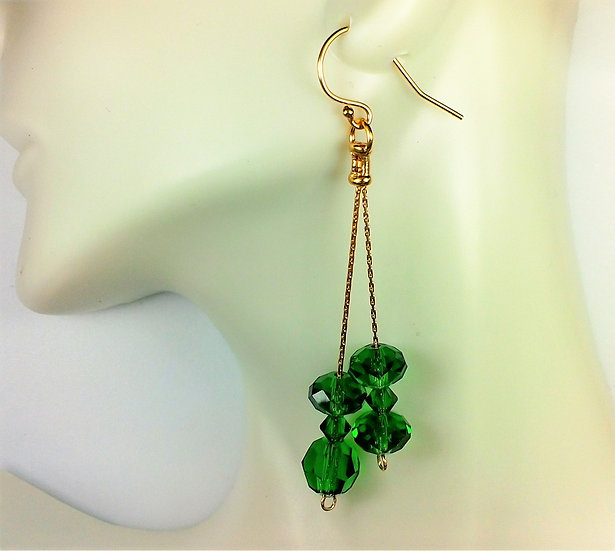 Handmade with 14k GF Chain, Ear wire and Swavorski Crystals