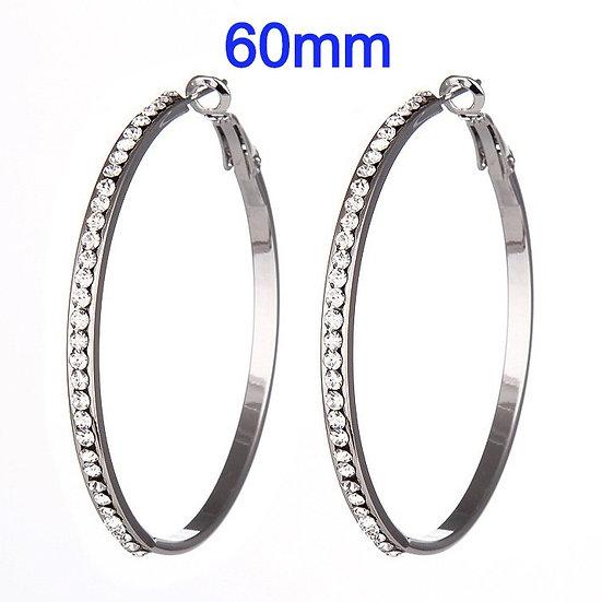 60mm TitaniumHoop Earrings with micro pave rhinestone's