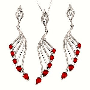 Sterling Silver Rhodium Plated Necklace and Earring Set with Red CZ