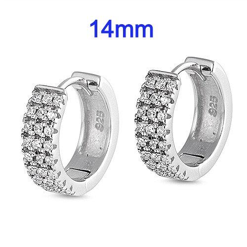 14mm Sterling Silver CZ Huggie Earrings