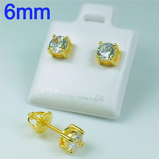 Sterling Silver Round Yellow Gold Plated Screw Back 1.5 Carat 6mm Stud Earrings