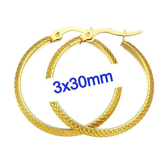 Stainless Steel 3x30mm Fancy Golden Hoop Earrings