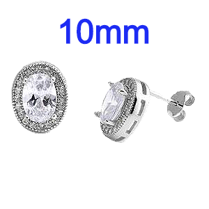 Sterling Silver Oval Halo Shaped CZ Earrings