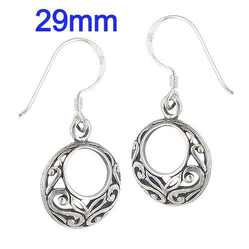 Sterling Silver Circular Filigree Earrings