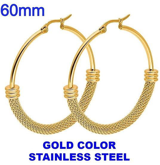 Stainless Steel 60mm Fancy Golden Hoop Earrings