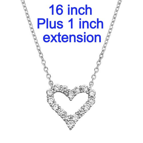 Sterling Silver Hearts Necklace With Diamond Simulants