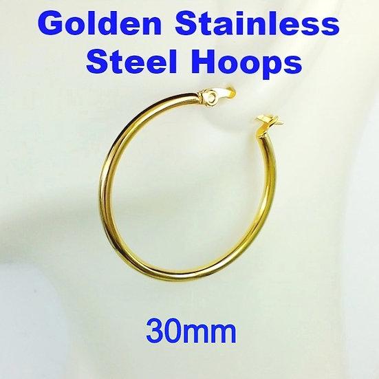 Stainless Steel 2mm x 30mm Golden Hoop Earrings