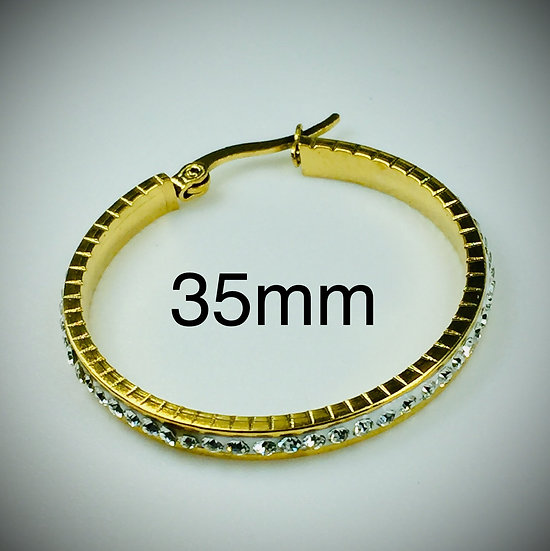 35mm Stainless Steel gold color plated Clay Pave Rhinestone Hoop Earrings.