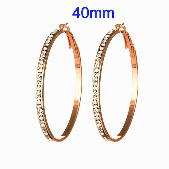 40mm Titanium Rose Gold color Hoop Earrings with micro pave rhinestone's