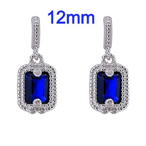 Sterling Silver Earrings with Sapphire Blue CZ