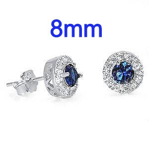 Sterling Silver With Sapphire Blue And Clear Round Halo CZ Earrings
