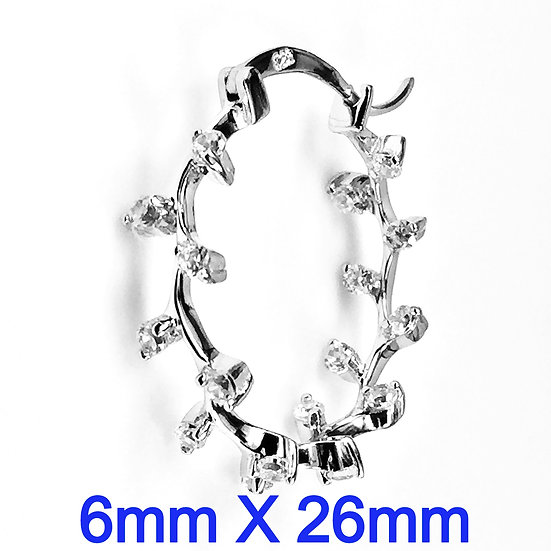 Sterling Silver Cubic Zirconia Hoop Earrings:6mm x 26mm