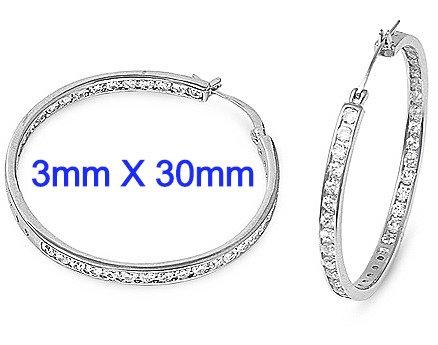 3mm X 30mm Sterling Silver Channel Set Inside/Outside CZ Hoop Earrings