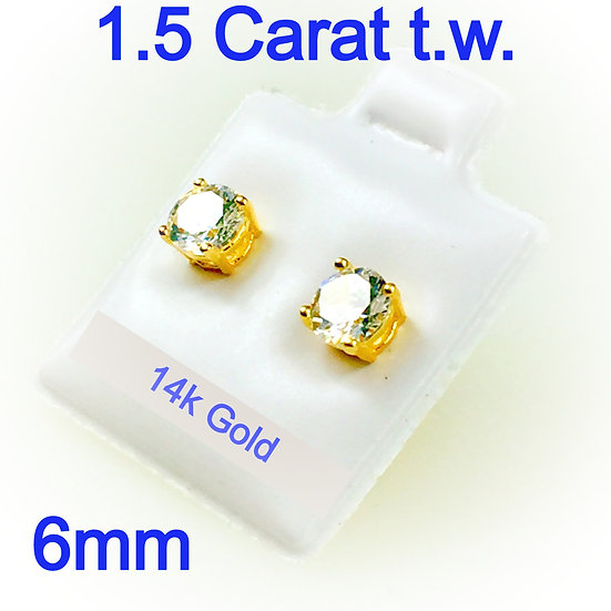 6mm Simulated Diamonds areSet inHigh Quality 14k Gold Prong Settings
