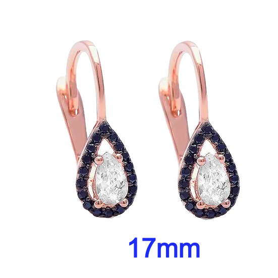 Sterling Silver Trendy Rose Gold Plated Pear Shape Black & White CZ Earrings