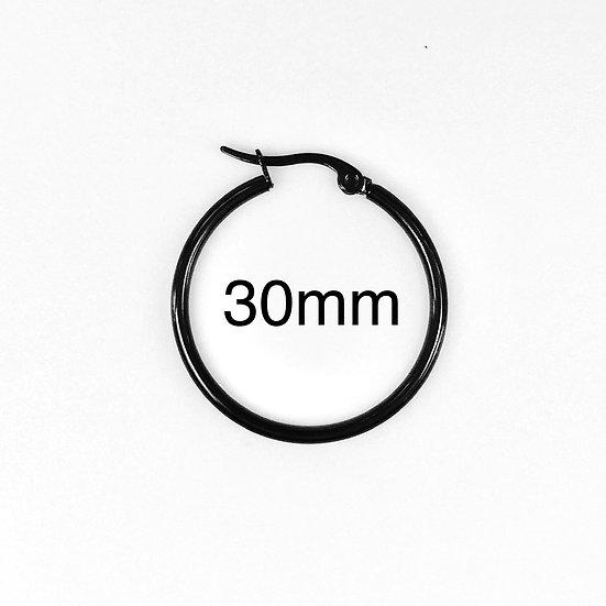 Stainless Steel 2mm x 30mm Black plated Hoop Earrings