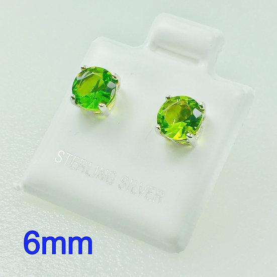6mm Round Peridot Green Sterling Silver CZ Stud Earrings.