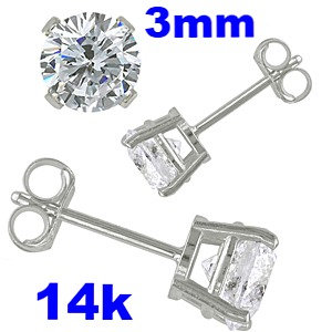14K White Gold Stud Earrings  Aprx .24 Carat Total Weight, 3mm Round Simulated Diamonds Set on High Quality 14k Gold Pro