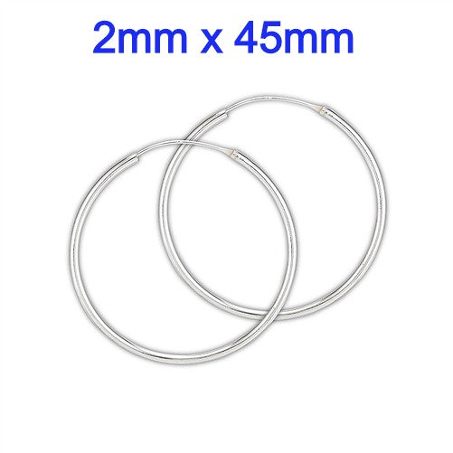 Sterling Silver 2mm x 45mm Continuous Hoop Earrings