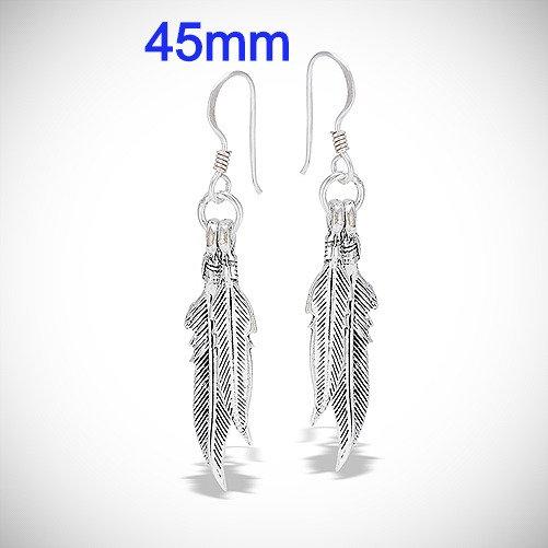 Sterling Silver Double Feather Dangle Earrings
