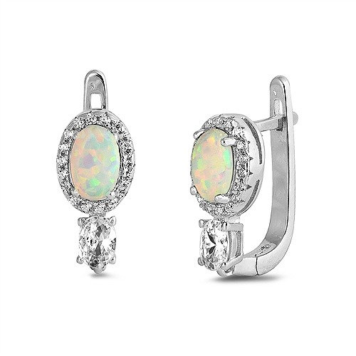 Silver Earrings with WhiteLab Opal