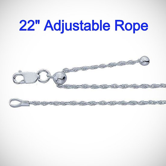 Sterling Silver Adjustable 1.4mm Rope Chain Necklace.