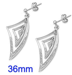 Sterling Silver 36mm Micro Pave Dangle Earrings