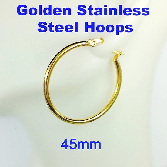 Stainless Steel 2mm x 45mm Golden Hoop Earrings