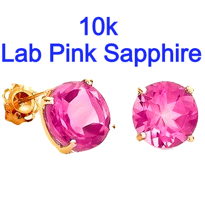 .90 Carat t.w. Lab Pink Sapphire set in 10k Yellow Gold