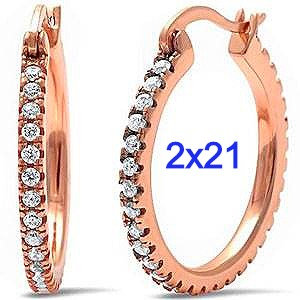 Sterling Silver Rose Gold Plated Round Cz Hoop Earrings.