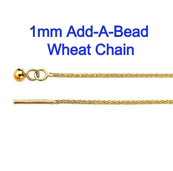 "14K Yellow Gold 1mm Add-A-Bead 22"" Adjustable Wheat Chain Necklace."