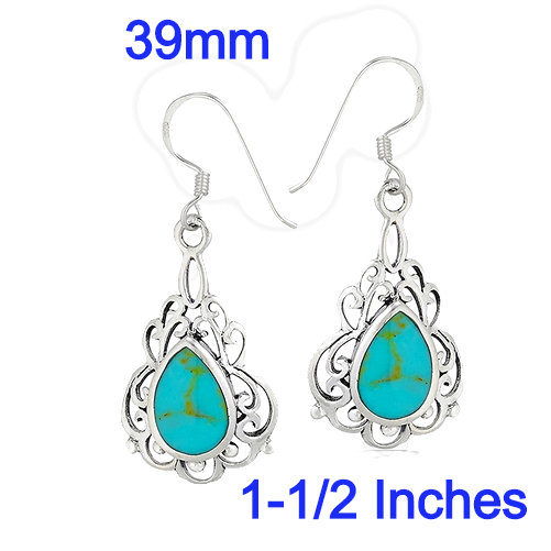 Sterling Silver Bali Style Dangle Earring With Synthetic Turquoise