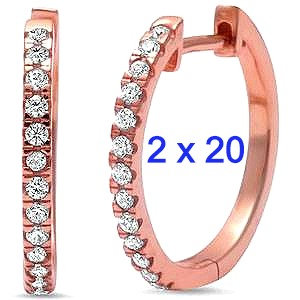 Sterling Silver Rose Gold Plated 2mm X 20mm Cz Earrings
