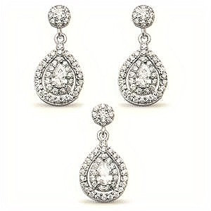 Sterling Silver Halo Pear Teardrop Solitaire Earrings And Pendant Set