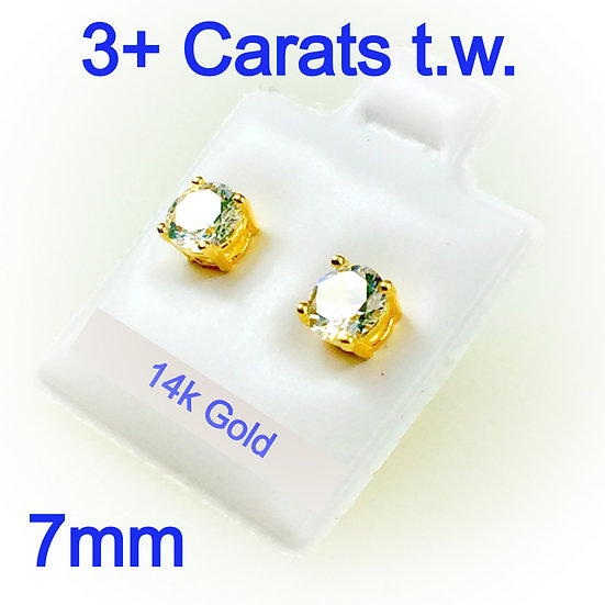 7mm Round Simulated Diamonds Set on High Quality 14k Gold Prong Settings
