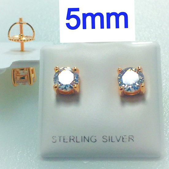 Sterling Silver Round Rose Gold Plated .925 Screw Back 5mm CZ Stud Earrings