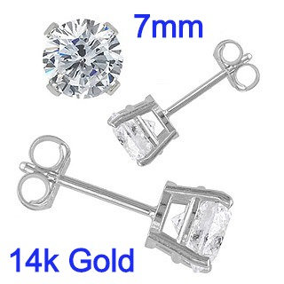 7mm Round Simulated Diamonds Set on High Quality 14k White Gold Prong Setting & Friction Style Post