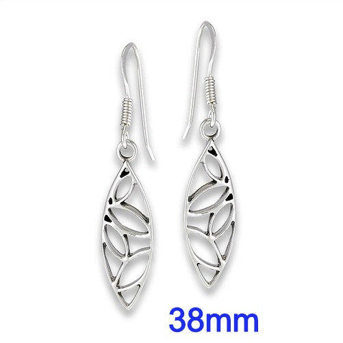Sterling Silver Abstract Falling Leaf Dangle Earrings