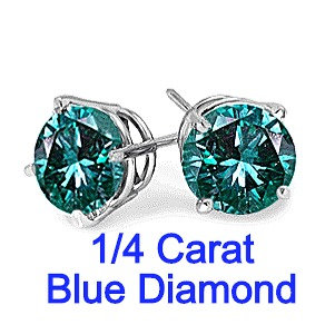 0.25 Carats Blue Diamond Earrings in 14k White Gold